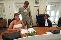 Netherlands Antilles, Bonaire, Kralendijk, wedding ceremony of a Dutch couple in the town hall and government building