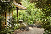 Gravel path bordered by Black Mondo Grass leads to Tateuchi Viewing Pavilion in Japanese Garden