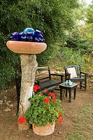 Blue bottles in bowl on post above bench & chairs framed by Geraniums in containers with bamboo hedge