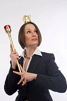 business woman with sceptre and crown