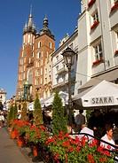 Poland Krakow, Church of St Mary and Szara Building at Main Market Square