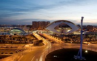 Spain. Comunidad Valenciana. Valencia. City of the Arts and the Science. L'hemisferic, (Imax Cinema, Planetarium and Laserium) and Palau de les arts R...