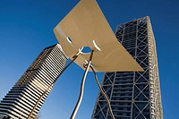 Mapfre Tower & Hotel Arts ,'David and Goliath' sculpture by Antoni Llena, Olympic Village, Barcelona. Catalonia