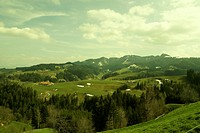 panorama, meadows, green, yellow, nature, mountains, mountain