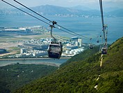 China, Hong Kong, Lantau Island, cable cars