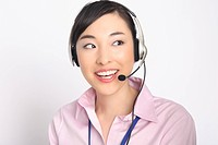 Business lady talking in headset