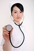 Nurse having a stethoscope