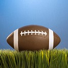 Studio shot of football resting in grass (thumbnail)