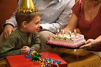 Caucasian boy in party hat with Birthday cake and family