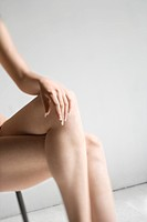 Close_up of womans bare legs