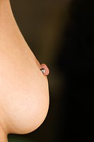 Close up of Caucasian female young adult breast with pierced nipple