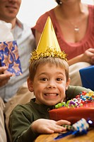 Boy at birthday party