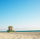 Art deco lifeguard tower on deserted beach in Miami, Florida, USA