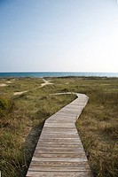 Wooden pathway to beach on Bald Head Island, North Carolina