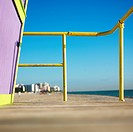 Art deco lifeguard tower deck on beach in Miami, Florida, USA