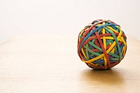 Still life of colorful rubber band ball (thumbnail)