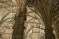 Rib_vaulted ceiling and columns in Jeronimos Monastery in Lisbon, Portugal