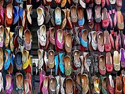 Traditional leather Shoes on display outside a shop  Pune, Maharashtra, India