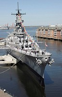 Starboard bow view of the decommissioned USS Wisconsin
