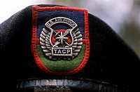 A close_up view of the Tactical Air Command and Control Specialists Competition career field emblem on a beret