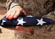 Marine with a US flag