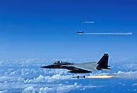 F_15 Eagle aircrafts fire AIM_7 Sparrow missiles at a tactical air_launched decoy