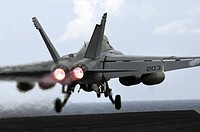An F/A_18E Super Hornet launches off flight deck