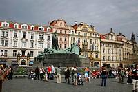 Old Town Square and the Jan Hus Munument, Stare Mesto, Prague, Czech Republic
