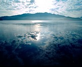 scene, cloud, lake, river, mountain, sky