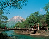 river, stream, human, tree, bridge, mountain