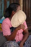Burmese lady with fan