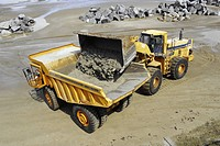 Dumper Truck during construction of rock armour sea defences