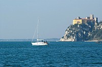 marine, castle, coast, boat, sea, rocks, adriatic sea