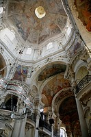The Ceiling of St  Nicholas church in the old town square, Stare Mesto, Prague, Czech Republic