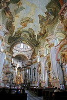 The Baroque interior of St  Nicholas Church in Mala strana, Prague, Czech Republic
