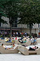People at the Museumsquartier, a cultural complex with museums cafes and restaurants, Vienna, Austria