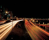 road, nightview, highroad, light, night, cityview