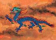 myth, dragon, painting, tradition, blue, mythical, animal