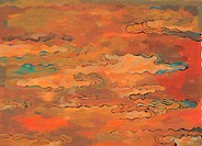 sky, Orientalpainting, glow, sunset, background, cloud, tradition