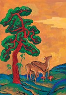 animal, Orientalpainting, mountain, deer, pine, vertebrate, tradition