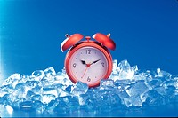 house item, water, table clock, time, ice, nature