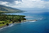 Aerial view of jetty on coastline of Maui, Hawaii