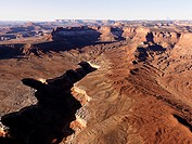 Aerial landscape of canyon in Canyonlands National Park, Utah, United States.