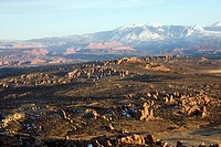 Aerial landscape of wide canyon in Arches National Park, Utah, United States