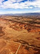 Aerial landscape of desert plains in rural Utah, United States