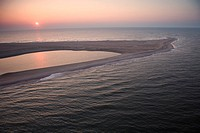 Scenic aerial view of sandbar at Baldhead Island, North Carolina at dusk