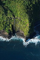 Aerial view of Maui, Hawaii coast with waterfall