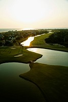 Aerial view of coastal golf course on Bald Head Island, North Carolina