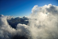 Above clouds view with blue sky