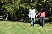 Smiling couple holding hands walking and talking in park
